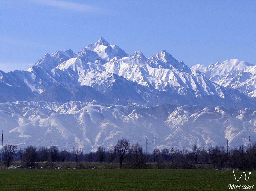 Tien Shan mountains and Trans-Ili Alatau mountains range in Kazakhstan.
