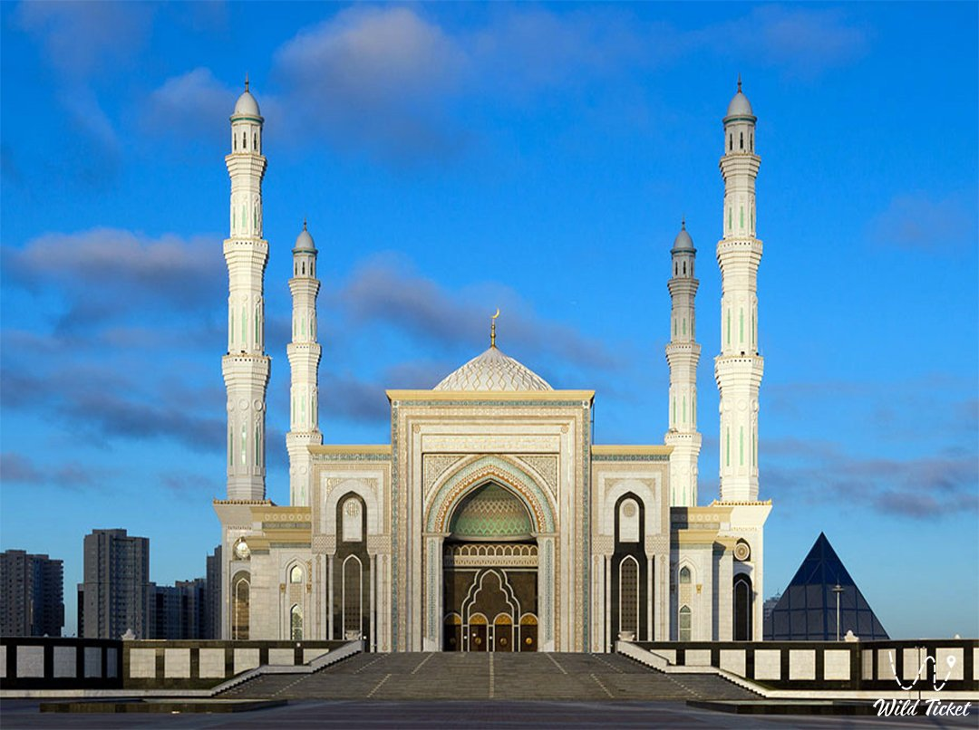 Hazrat Sultan mosque in Nur-Sultan city the capital of Kazakhstan