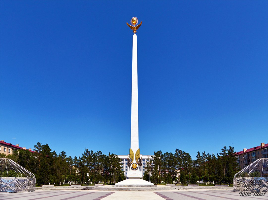 Independence Monument in the city of Karaganda