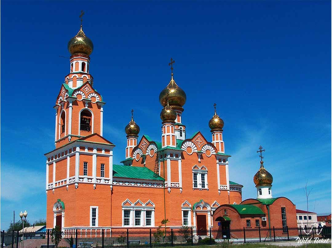Cathedral of Assumption in Atyrau city.