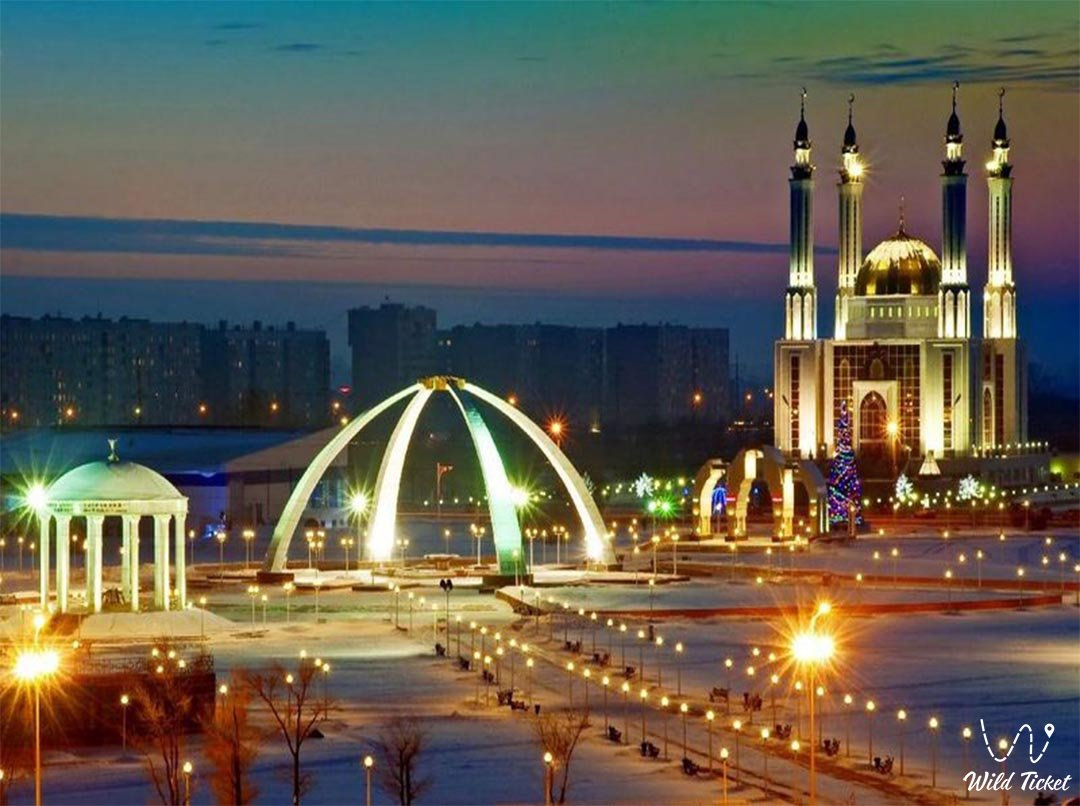 Aktobe city in Aktobe region, Kazakhstan.