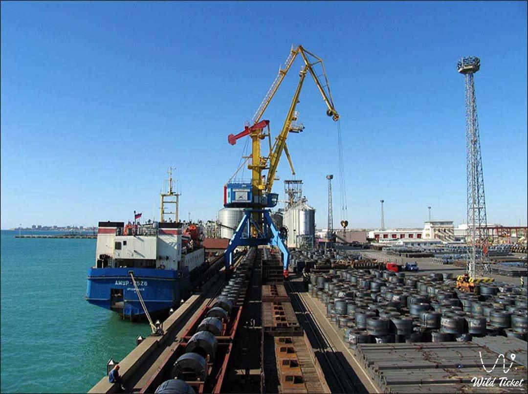Aktau port on Kaspian Sea, Kazakhstan.