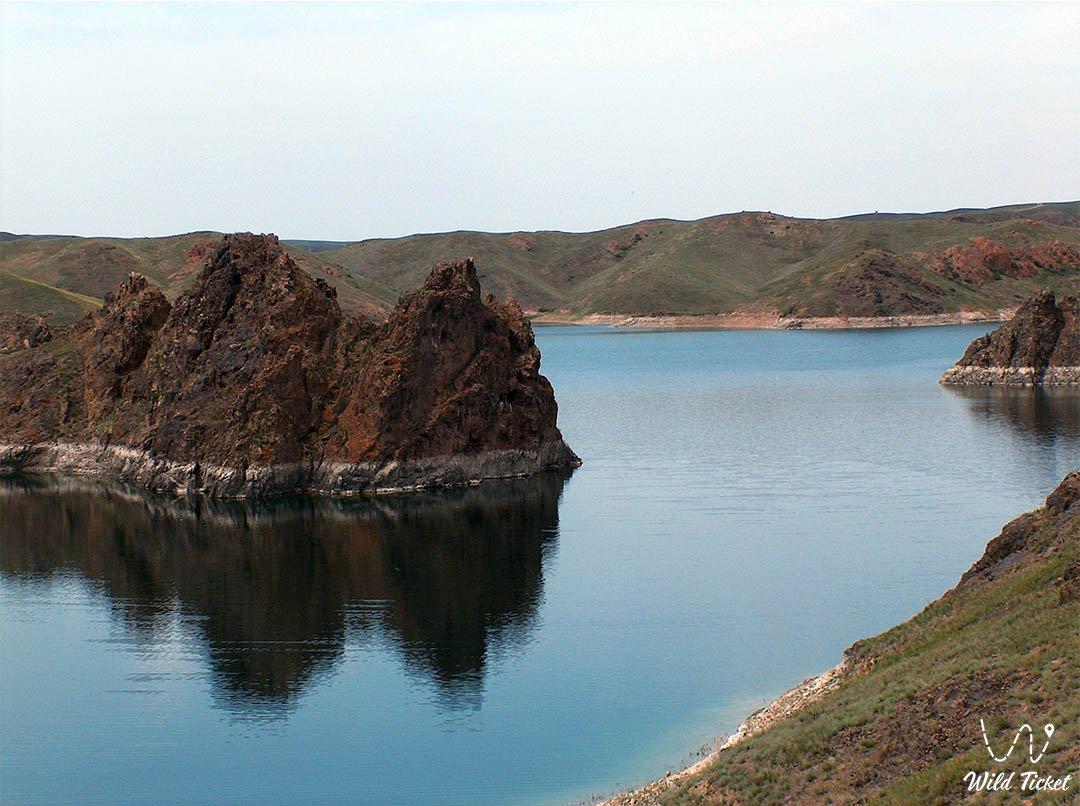 Kurtinskoe reservoir on Kurty river, Almaty region, Kazakhstan.