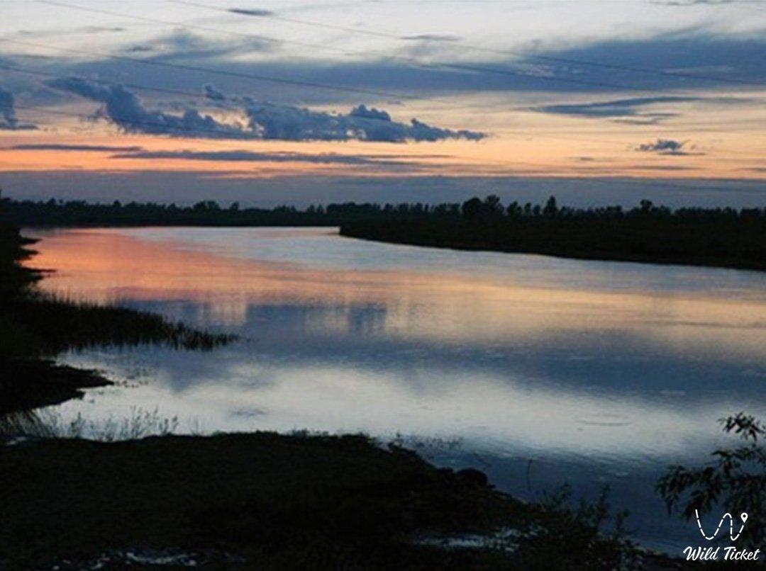 Ишим река в Акмолинской области, Казахстан.