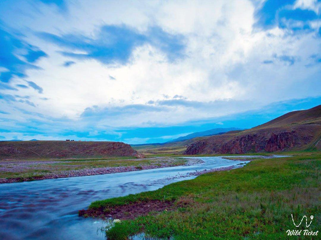 Kapal river in Aksu basin, Kazakhstan.