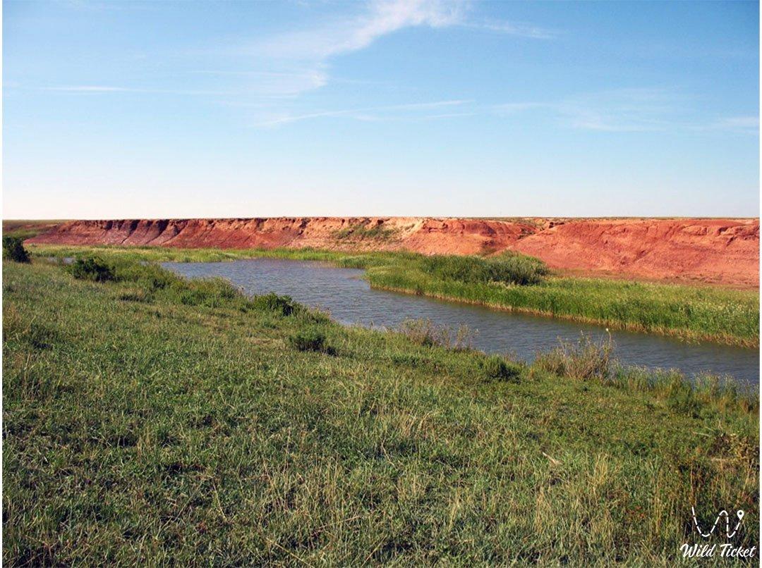 Sarysu river in Karaganda region, Kazakhstan.
