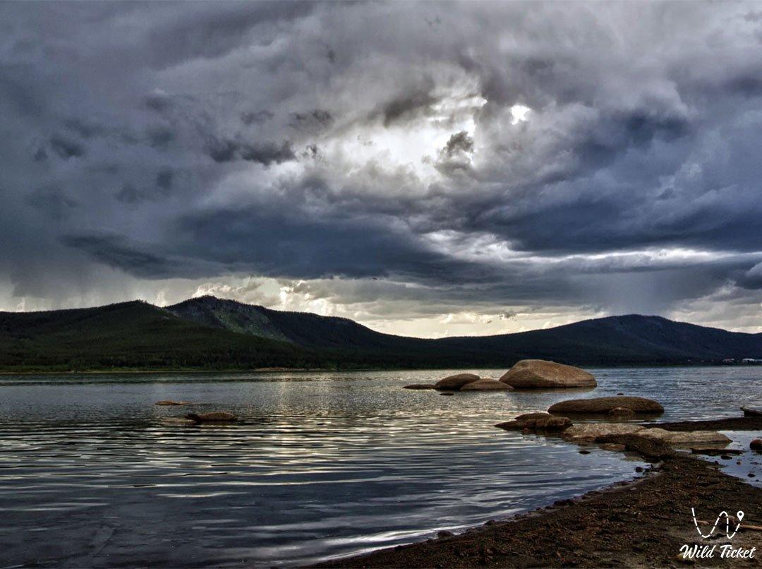 Lakes and Rivers in Yereymentau mountains, Kazakhstan.