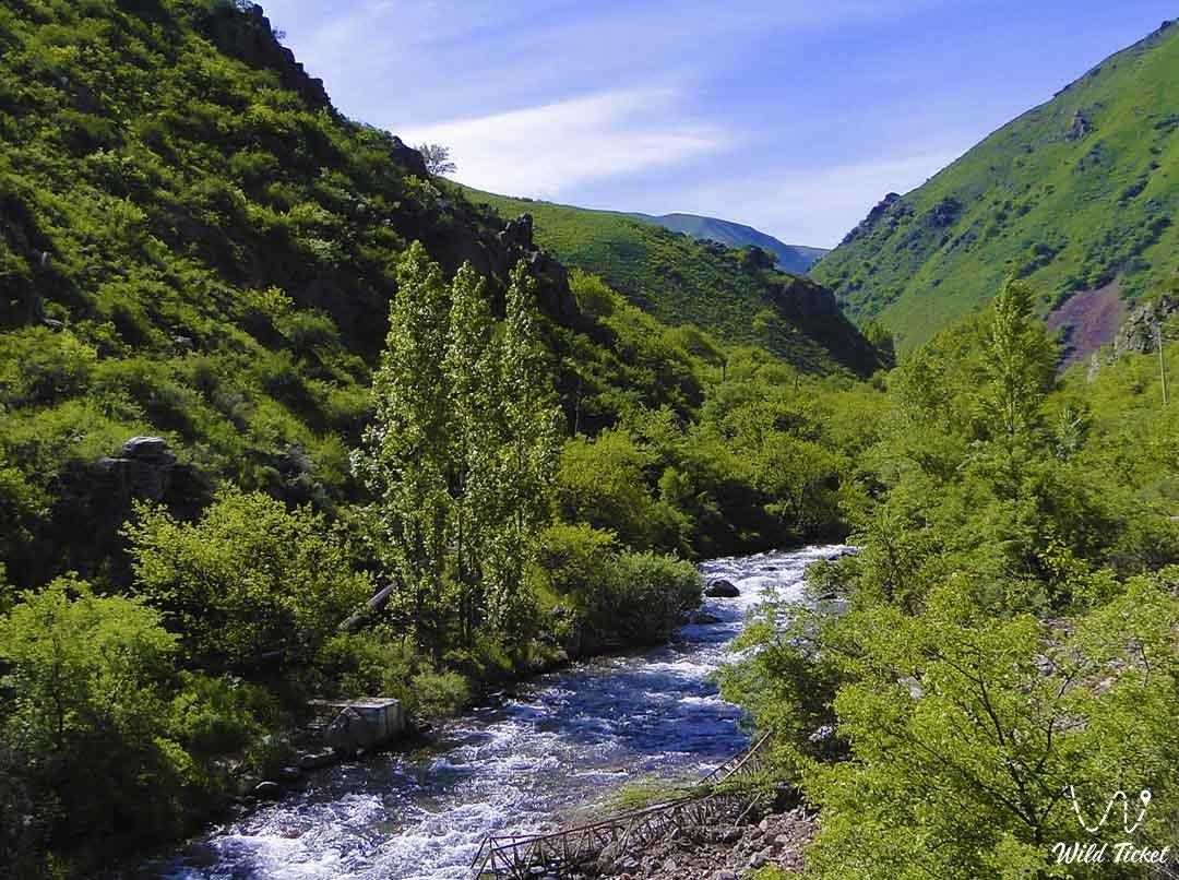 Узун-Каргалы река в Алматинской области, Казахстан.