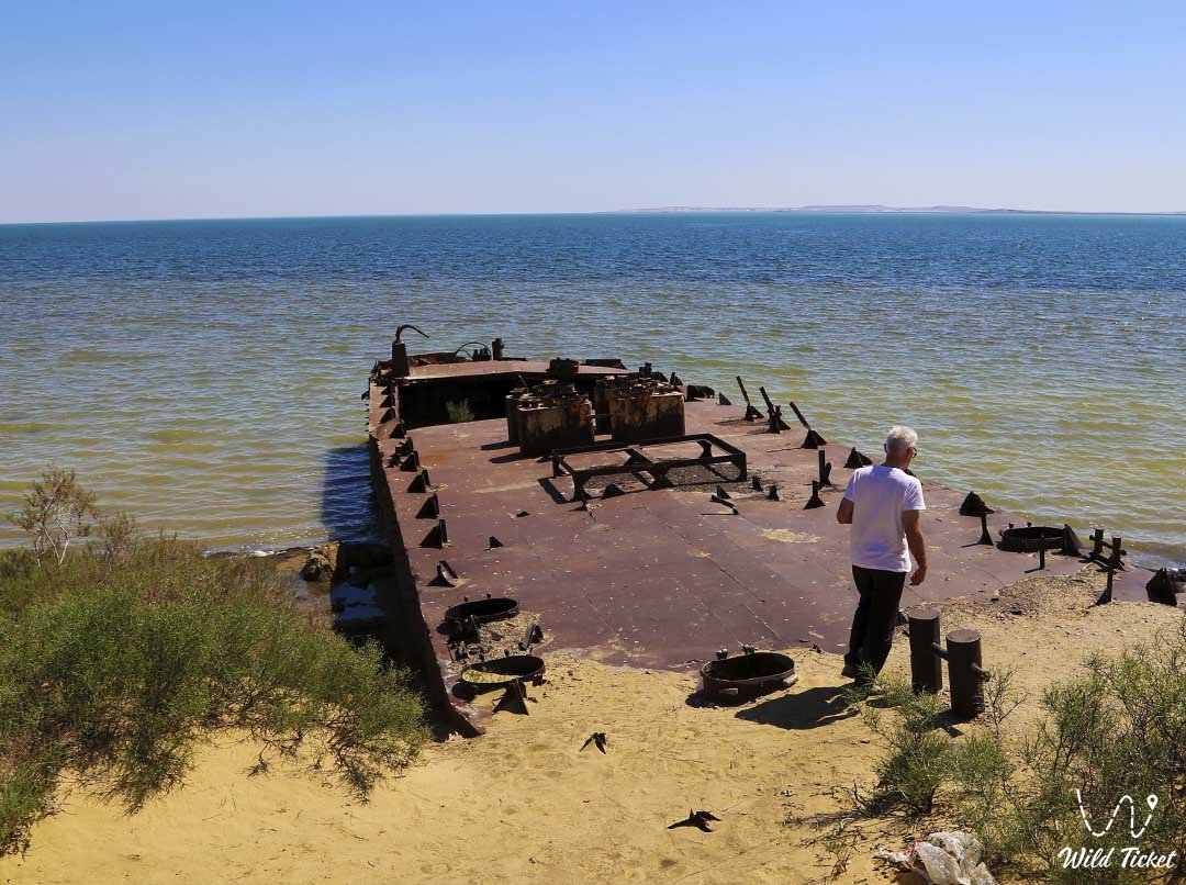 Barge on the Small Aral Sea, desert ships, Kazakhstan.