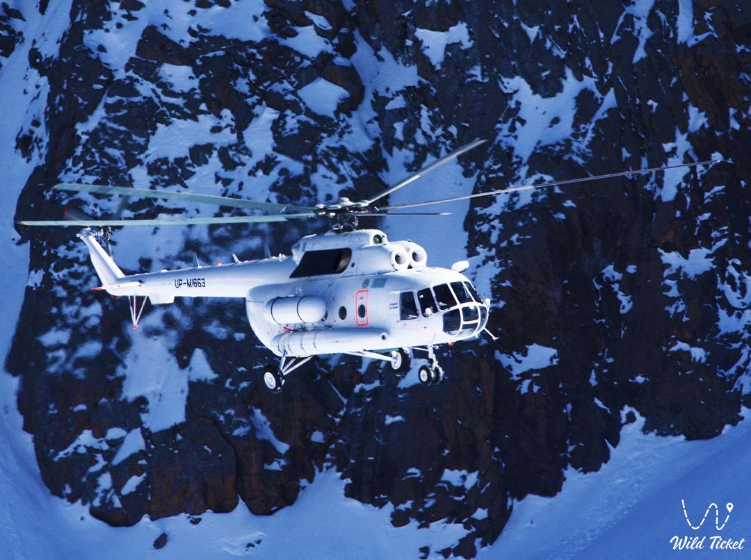 North Inylchek Glacier in Kazakhstan, helicopter flight.