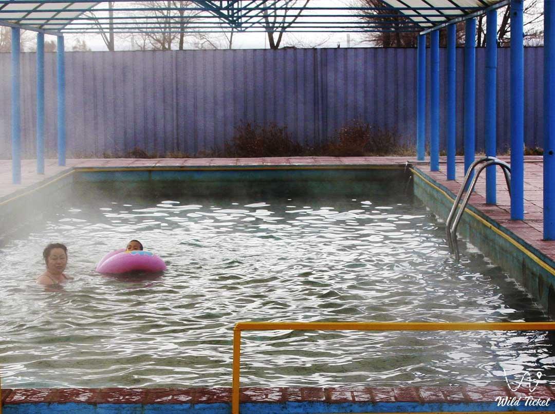 Hot thermal springs in Chundzha, Almaty region, Uygur district, Kazakhstan.