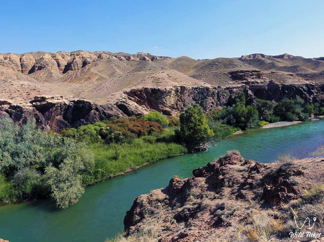 Charyn Canyon, a geological park in the Almaty region, Kazakhstan.