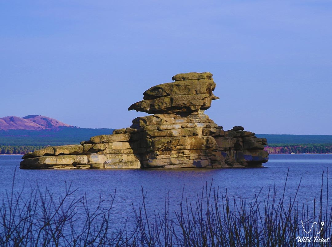 Zhumbaktas Rock Island, Borovoe National Park, Kazakhstan.