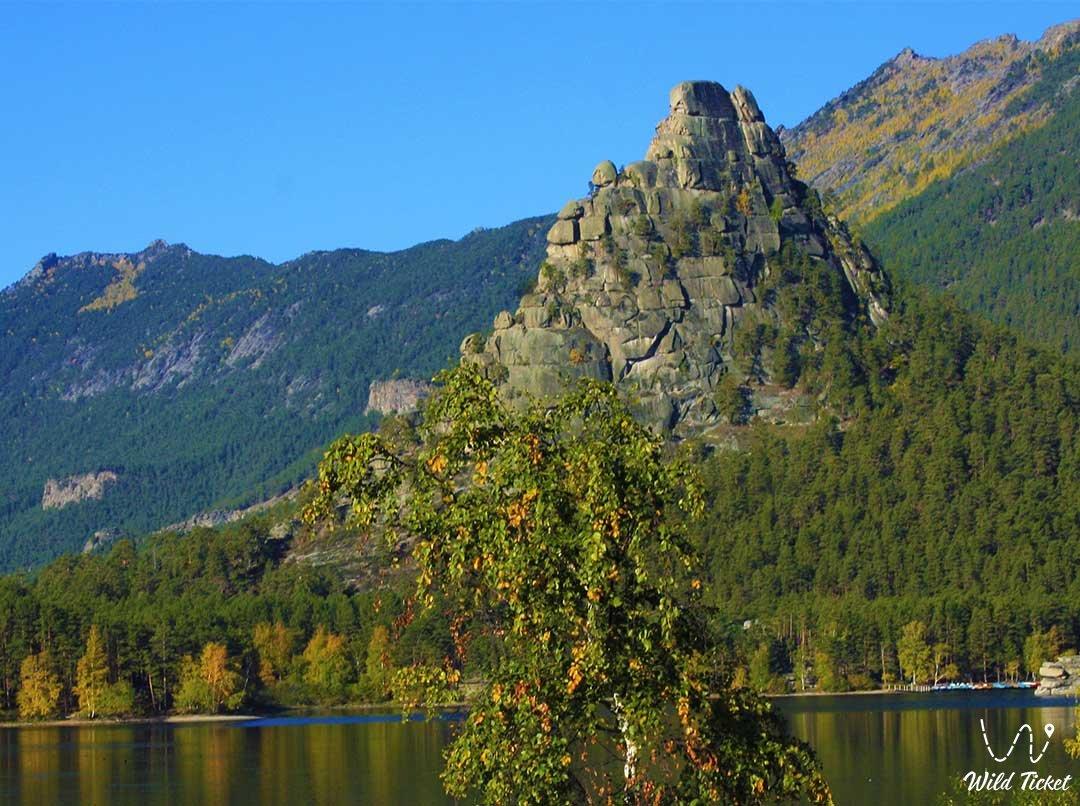 Okzhetpes rock mount on Borovoe lake, Akmola region, Kazakhstan.