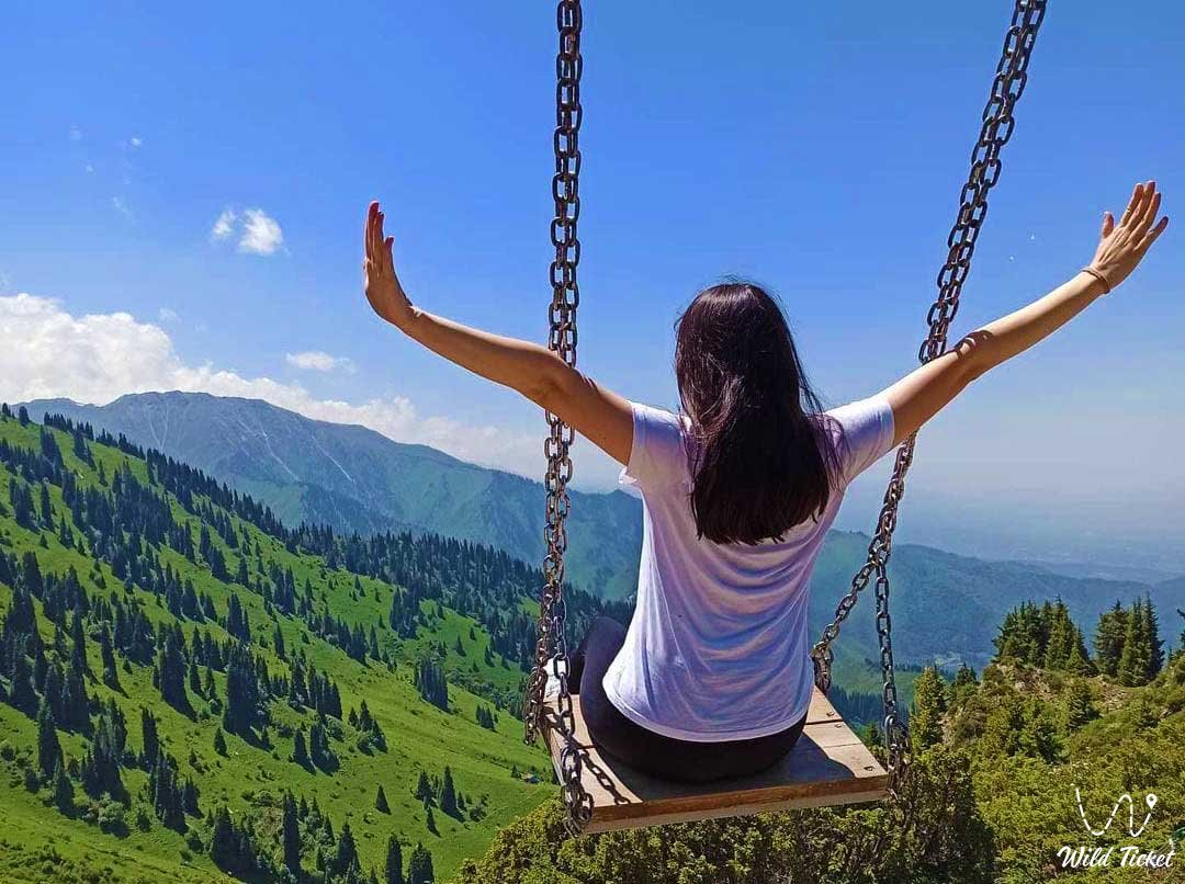 Swing in the mountains of Almaty.