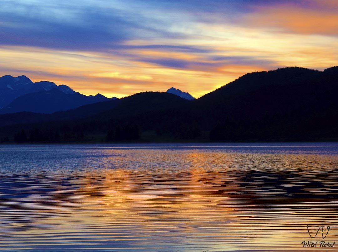 Lake Karakol (Yazevoe). Sunrise at Lake Yazevoe.