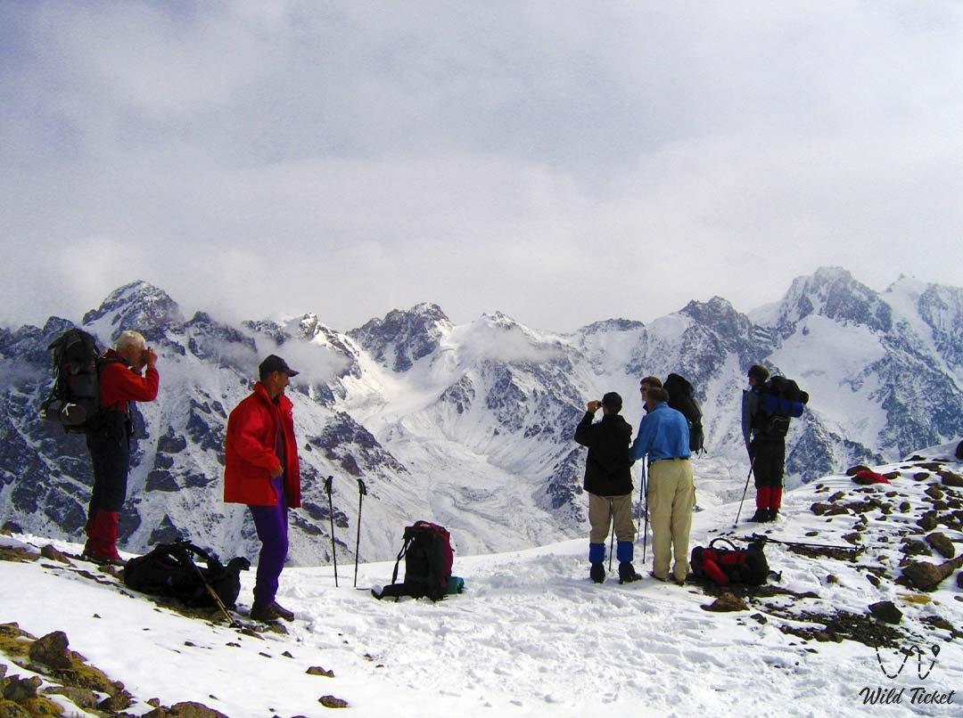 Tourists mountain pass.